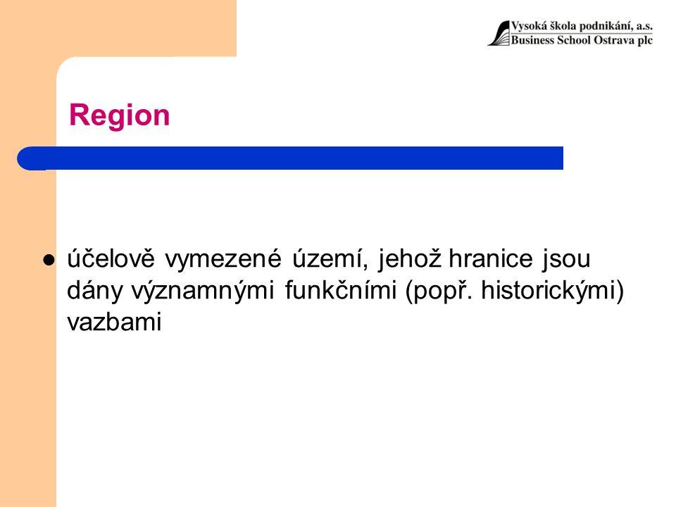 Region účelově vymezené území, jehož hranice jsou dány významnými funkčními (popř. historickými) vazbami