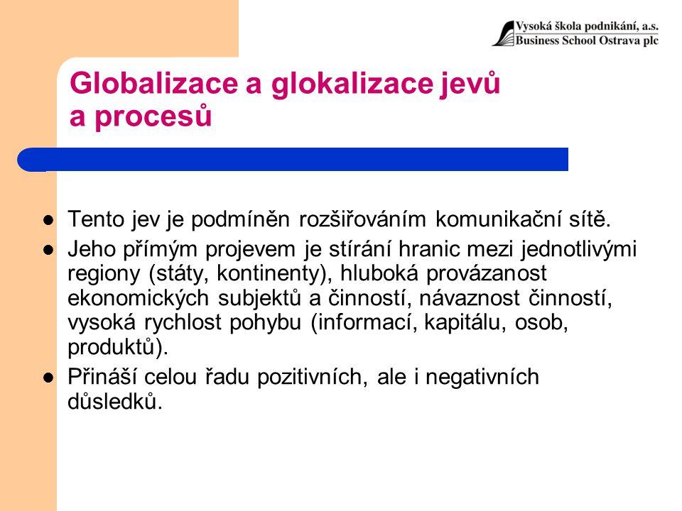 Globalizace a glokalizace jevů a procesů Tento jev je podmíněn rozšiřováním komunikační sítě. Jeho přímým projevem je stírání hranic mezi jednotlivými