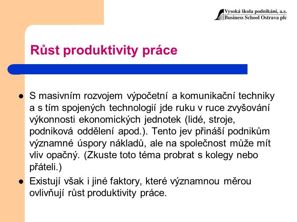 Růst produktivity práce S masivním rozvojem výpočetní a komunikační techniky a s tím spojených technologií jde ruku v ruce zvyšování výkonnosti ekonom