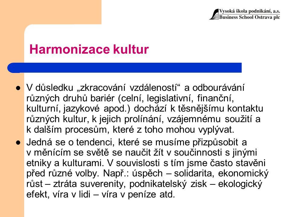"""Harmonizace kultur V důsledku """"zkracování vzdáleností"""" a odbourávání různých druhů bariér (celní, legislativní, finanční, kulturní, jazykové apod.) do"""