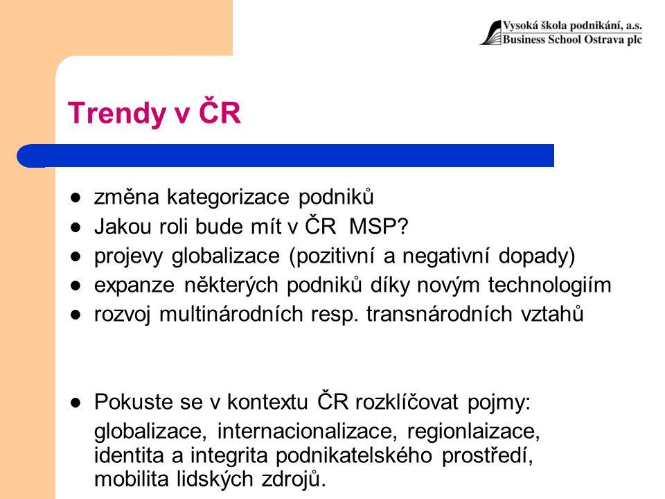 Trendy v ČR změna kategorizace podniků Jakou roli bude mít v ČR MSP? projevy globalizace (pozitivní a negativní dopady) expanze některých podniků díky