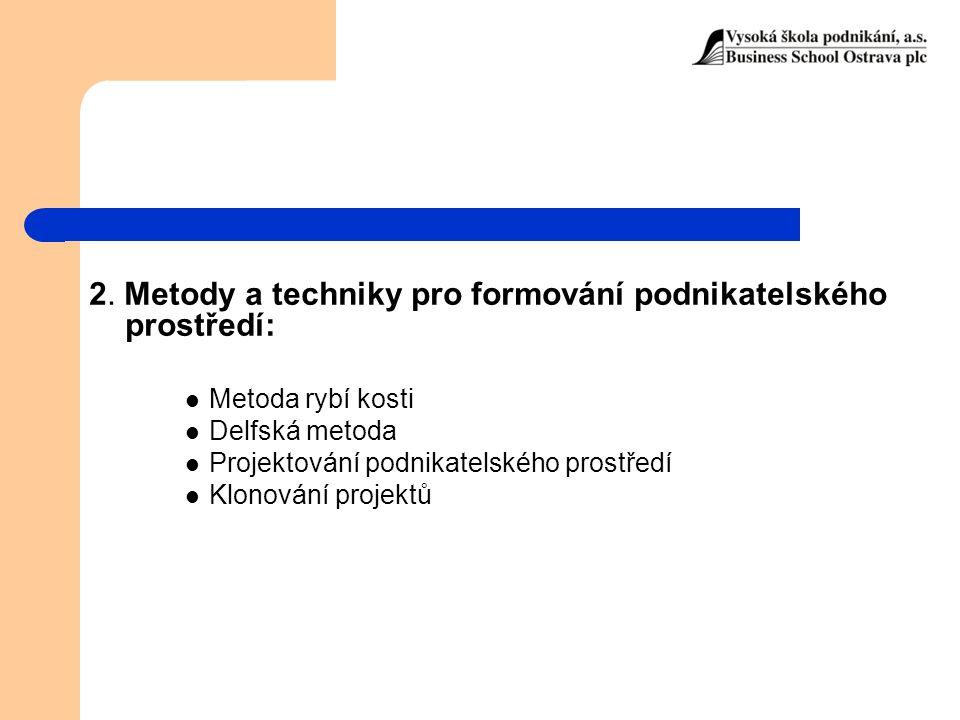 2. Metody a techniky pro formování podnikatelského prostředí: Metoda rybí kosti Delfská metoda Projektování podnikatelského prostředí Klonování projek