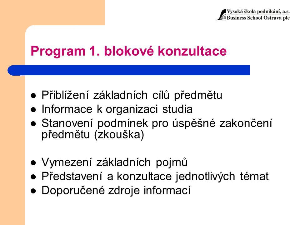 Program 1. blokové konzultace Přiblížení základních cílů předmětu Informace k organizaci studia Stanovení podmínek pro úspěšné zakončení předmětu (zko