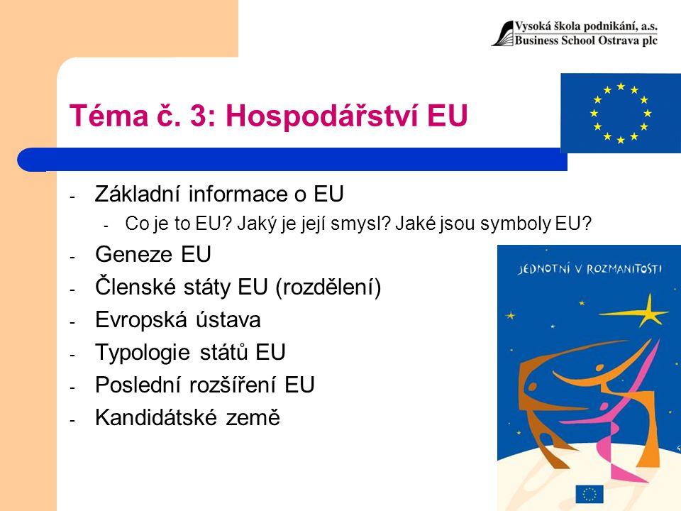 Téma č. 3: Hospodářství EU - Základní informace o EU - Co je to EU? Jaký je její smysl? Jaké jsou symboly EU? - Geneze EU - Členské státy EU (rozdělen