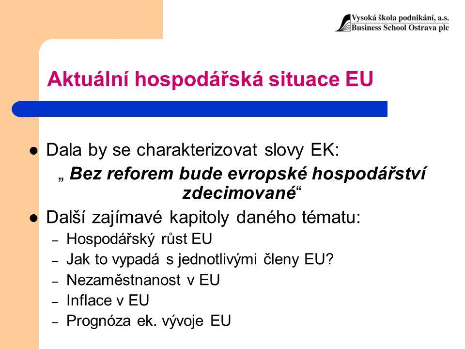 """Aktuální hospodářská situace EU Dala by se charakterizovat slovy EK: """" Bez reforem bude evropské hospodářství zdecimované"""" Další zajímavé kapitoly dan"""