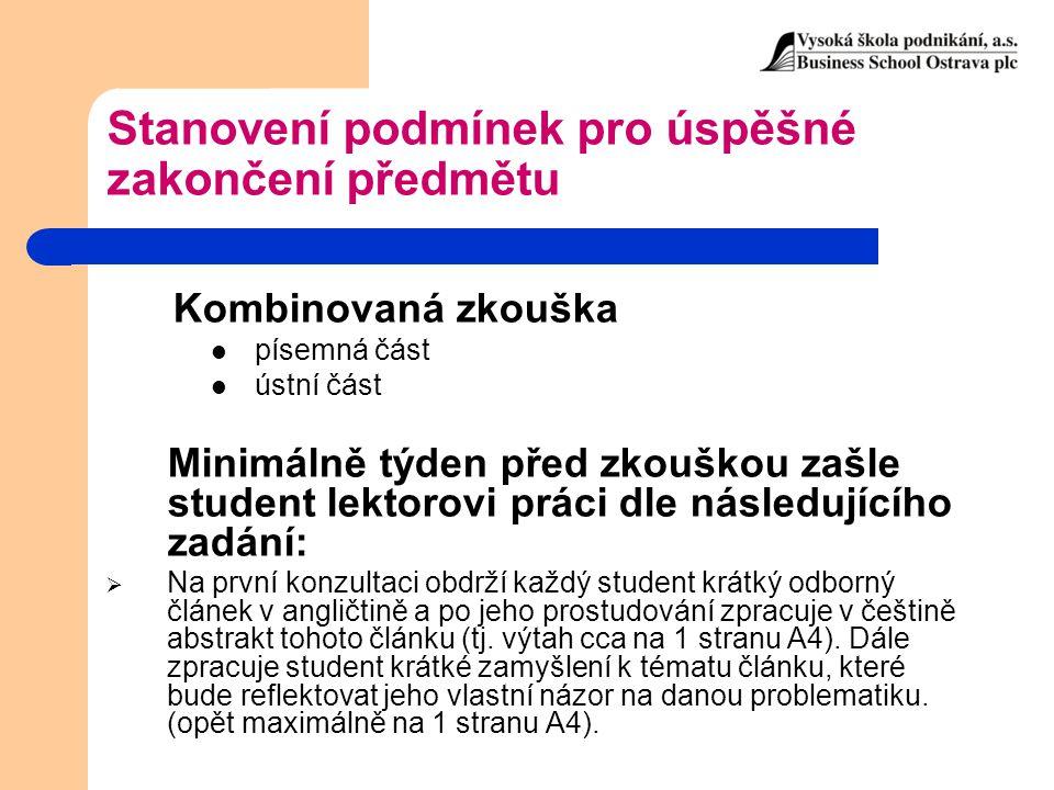 Formální struktura seminární práce Titulní strana → 1.