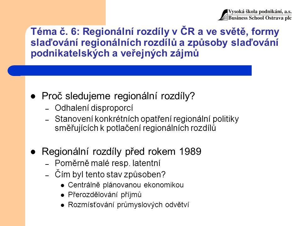 Téma č. 6: Regionální rozdíly v ČR a ve světě, formy slaďování regionálních rozdílů a způsoby slaďování podnikatelských a veřejných zájmů Proč sleduje
