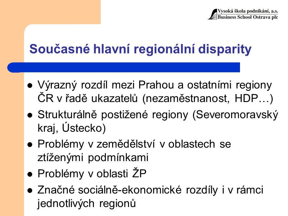 Současné hlavní regionální disparity Výrazný rozdíl mezi Prahou a ostatními regiony ČR v řadě ukazatelů (nezaměstnanost, HDP…) Strukturálně postižené