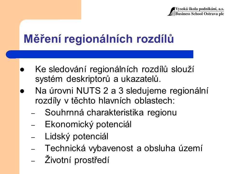 Měření regionálních rozdílů Ke sledování regionálních rozdílů slouží systém deskriptorů a ukazatelů. Na úrovni NUTS 2 a 3 sledujeme regionální rozdíly