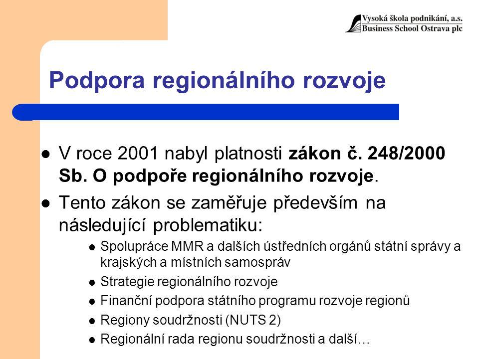 Podpora regionálního rozvoje V roce 2001 nabyl platnosti zákon č. 248/2000 Sb. O podpoře regionálního rozvoje. Tento zákon se zaměřuje především na ná