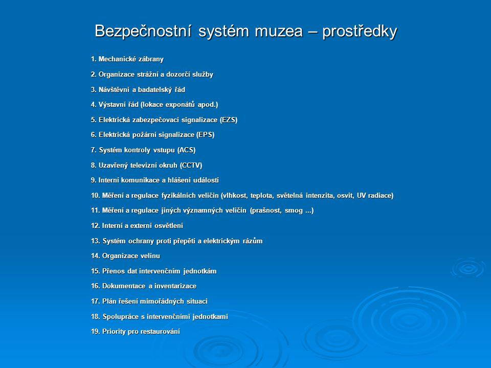 Bezpečnostní systém muzea – prostředky 1.Mechanické zábrany 2.