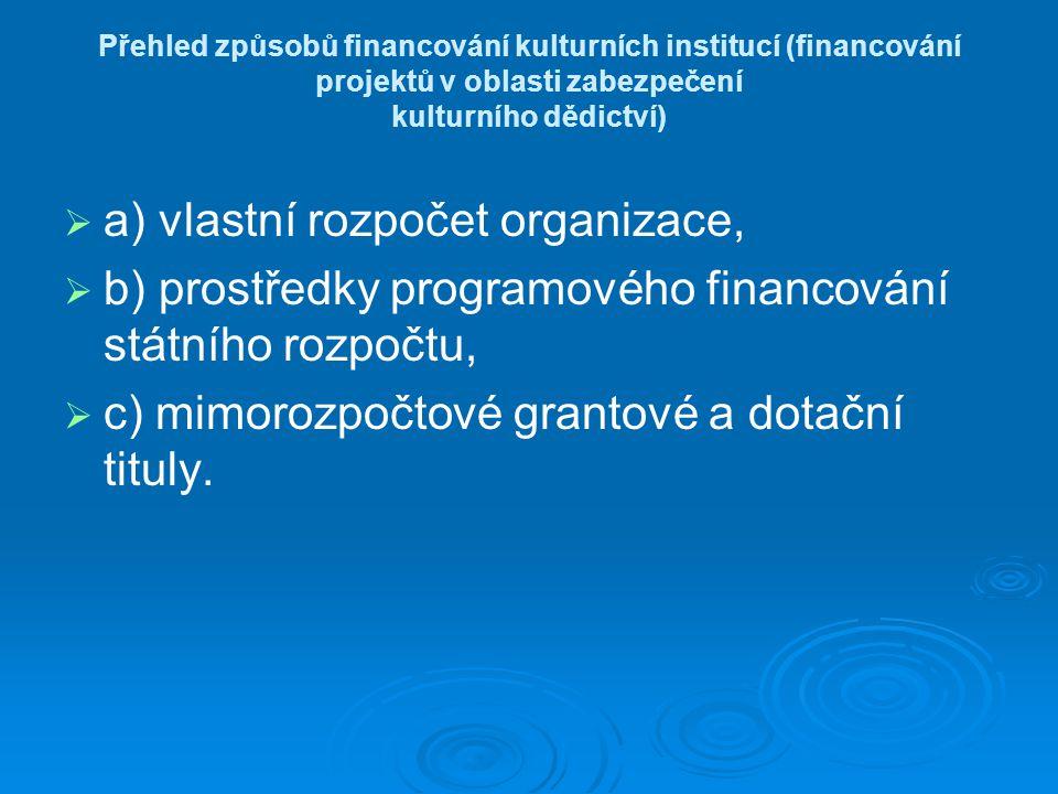 Přehled způsobů financování kulturních institucí (financování projektů v oblasti zabezpečení kulturního dědictví)   a) vlastní rozpočet organizace,   b) prostředky programového financování státního rozpočtu,   c) mimorozpočtové grantové a dotační tituly.