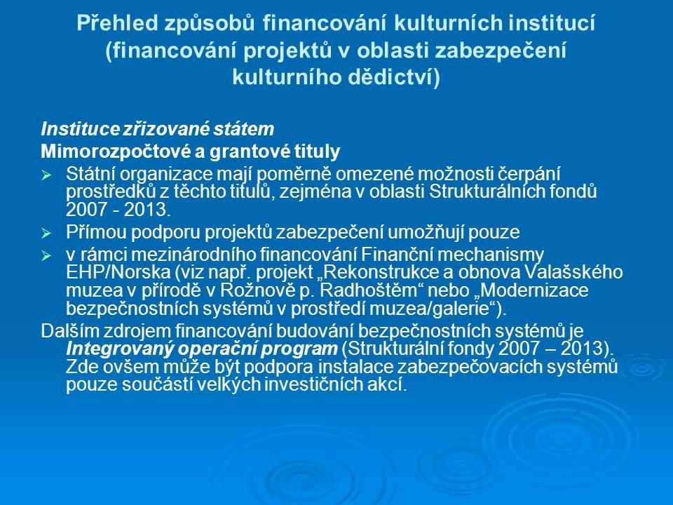 Přehled způsobů financování kulturních institucí (financování projektů v oblasti zabezpečení kulturního dědictví) Instituce zřizované státem Mimorozpočtové a grantové tituly   Státní organizace mají poměrně omezené možnosti čerpání prostředků z těchto titulů, zejména v oblasti Strukturálních fondů 2007 - 2013.