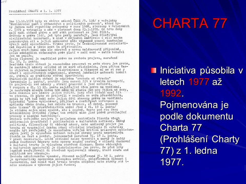 ZDROJE http://www.lidovky.cz/ln_domov.asp?c=A070108_153710_ln_domov_vvr http://images.google.cz/images?hl=cs&q=z%C3%A1nik+charty+77&gbv=2&aq=f&oqhttp://ireferaty.lidovky.cz/100/ 527/Havel-V%C3%A1clav http://cs.wikipedia.org/wiki/V%C3%A1clav_Havel http://www.vaclavhavel.cz/index.php?sec=1&id=11 http://cs.wikipedia.org/wiki/Seznam_mluv%C4%8D%C3%ADch_Charty_77 http://cs.wikipedia.org/wiki/V%C3%A1clav_Benda http://cs.wikipedia.org/wiki/Ladislav_Hejd%C3%A1nek http://cs.wikipedia.org/wiki/Ji%C5%99%C3%AD_H%C3%A1jek http://cs.wikipedia.org/wiki/Eva_Kant%C5%AFrkov%C3%A1 http://cs.wikipedia.org/wiki/V%C3%A1clav_Mal%C3%BD http://cs.wikipedia.org/wiki/Jan_Pato%C4%8Dka http://cs.wikipedia.org/wiki/Hana_Ponick%C3%A1 http://cs.wikipedia.org/wiki/Milo%C5%A1_Rejchrt http://cs.wikipedia.org/wiki/Alexandr_Vondra http://cs.wikipedia.org/wiki/Jaroslav_%C5%A0abata http://cs.wikipedia.org/wiki/Anna_%C5%A0abatov%C3%A1 http://cs.wikipedia.org/wiki/Petru%C5%A1ka_%C5%A0ustrov%C3%A1 www.cuni.cz/IFORUM-3733-version1-Patocka1.jpg3.bp.blogspot.com/.../s400/pavelWonka.jpgwww.nezapomente.cz/.../pavel_wonka_1_1149.jpg www.charta2007.cz/obrazy/ut2.jpg www.reflex.cz/images/tistenyrx/2008/15/74-3.jpgupload.wikimedia.org/wikipedia/commons/thumb/cz.altermedia.info/.../rude_pravo_anticharta.jpmedia.novinky.cz/797/37970-article-svlnw.jpgwww.tydeniky.cz/images/articles/icon_4213_1.jpgimgs.idnes.cz/domaci/A041116_JAN_HAVEL_S_V.JPGwww.vons.cz/data/pdf/clenovevons/havel.jpg
