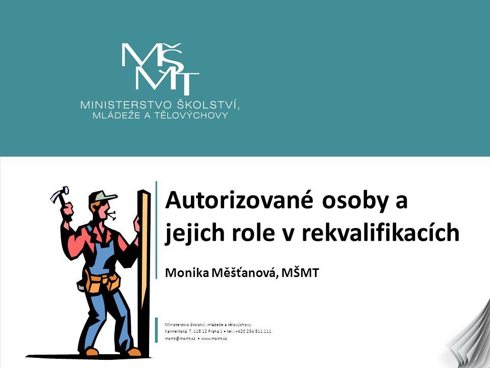 1 Autorizované osoby a jejich role v rekvalifikacích Monika Měšťanová, MŠMT Ministerstvo školství, mládeže a tělovýchovy Karmelitská 7, 118 12 Praha 1