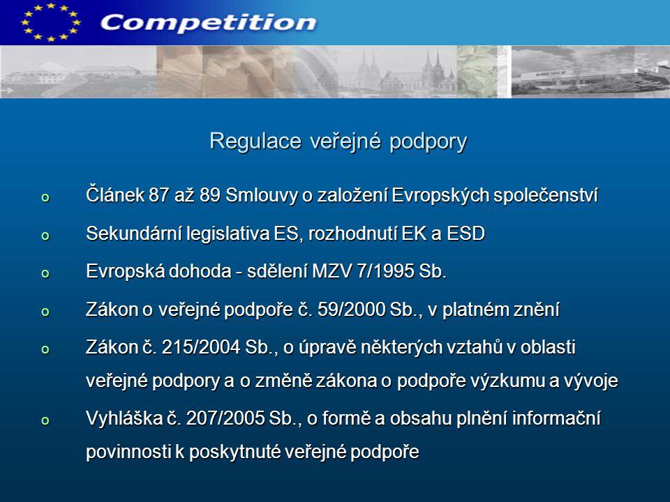 o Článek 87 až 89 Smlouvy o založení Evropských společenství o Sekundární legislativa ES, rozhodnutí EK a ESD o Evropská dohoda - sdělení MZV 7/1995 Sb.