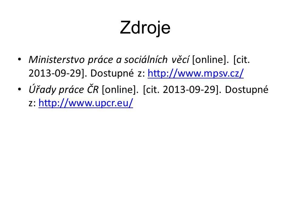 Zdroje Ministerstvo práce a sociálních věcí [online].