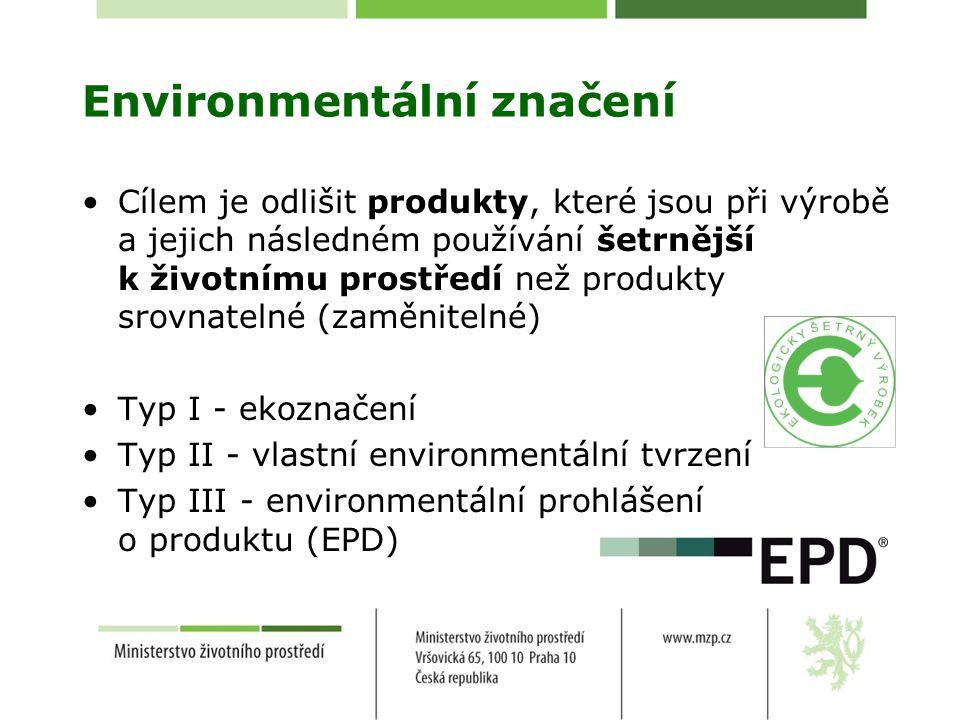 Environmentální značení Cílem je odlišit produkty, které jsou při výrobě a jejich následném používání šetrnější k životnímu prostředí než produkty srovnatelné (zaměnitelné) Typ I - ekoznačení Typ II - vlastní environmentální tvrzení Typ III - environmentální prohlášení o produktu (EPD)