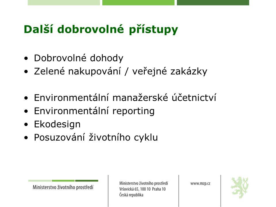 Další dobrovolné přístupy Dobrovolné dohody Zelené nakupování / veřejné zakázky Environmentální manažerské účetnictví Environmentální reporting Ekodesign Posuzování životního cyklu