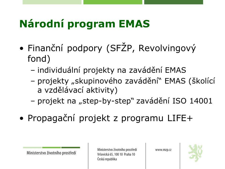 """Národní program EMAS Finanční podpory (SFŽP, Revolvingový fond) –individuální projekty na zavádění EMAS –projekty """"skupinového zavádění EMAS (školící a vzdělávací aktivity) –projekt na """"step-by-step zavádění ISO 14001 Propagační projekt z programu LIFE+"""