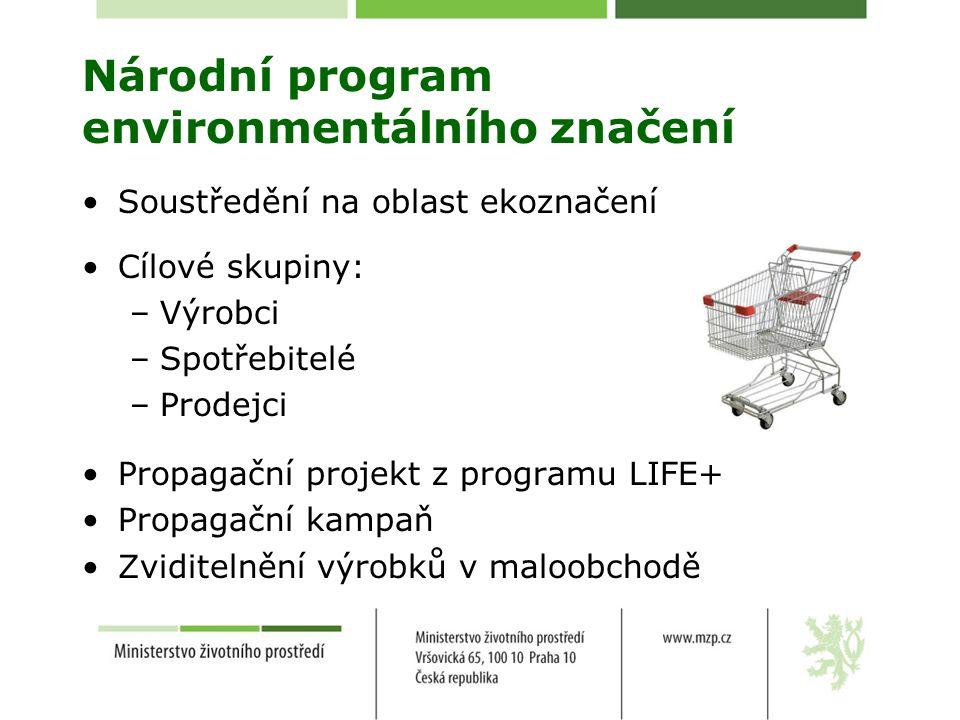 Národní program environmentálního značení Soustředění na oblast ekoznačení Cílové skupiny: –Výrobci –Spotřebitelé –Prodejci Propagační projekt z programu LIFE+ Propagační kampaň Zviditelnění výrobků v maloobchodě