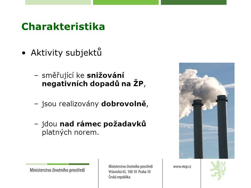 Charakteristika Aktivity subjektů –směřující ke snižování negativních dopadů na ŽP, –jsou realizovány dobrovolně, –jdou nad rámec požadavků platných norem.