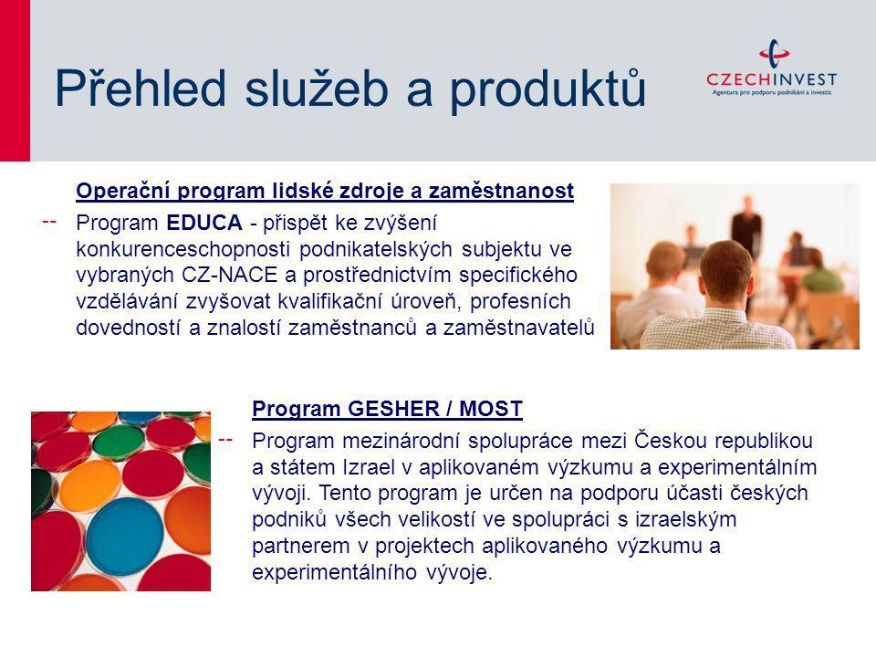 Přehled služeb a produktů Operační program lidské zdroje a zaměstnanost ╌ Program EDUCA - přispět ke zvýšení konkurenceschopnosti podnikatelských subjektu ve vybraných CZ-NACE a prostřednictvím specifického vzdělávání zvyšovat kvalifikační úroveň, profesních dovedností a znalostí zaměstnanců a zaměstnavatelů Program GESHER / MOST ╌ Program mezinárodní spolupráce mezi Českou republikou a státem Izrael v aplikovaném výzkumu a experimentálním vývoji.