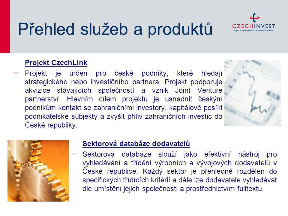 Přehled služeb a produktů Projekt CzechLink ╌ Projekt je určen pro české podniky, které hledají strategického nebo investičního partnera. Projekt podp