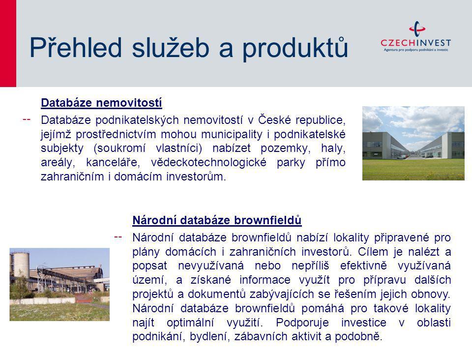Přehled služeb a produktů Databáze nemovitostí ╌ Databáze podnikatelských nemovitostí v České republice, jejímž prostřednictvím mohou municipality i podnikatelské subjekty (soukromí vlastníci) nabízet pozemky, haly, areály, kanceláře, vědeckotechnologické parky přímo zahraničním i domácím investorům.