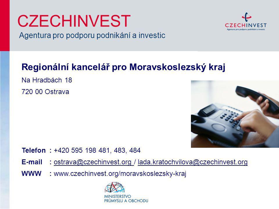 CZECHINVEST Agentura pro podporu podnikání a investic Regionální kancelář pro Moravskoslezský kraj Na Hradbách 18 720 00 Ostrava Telefon: +420 595 198