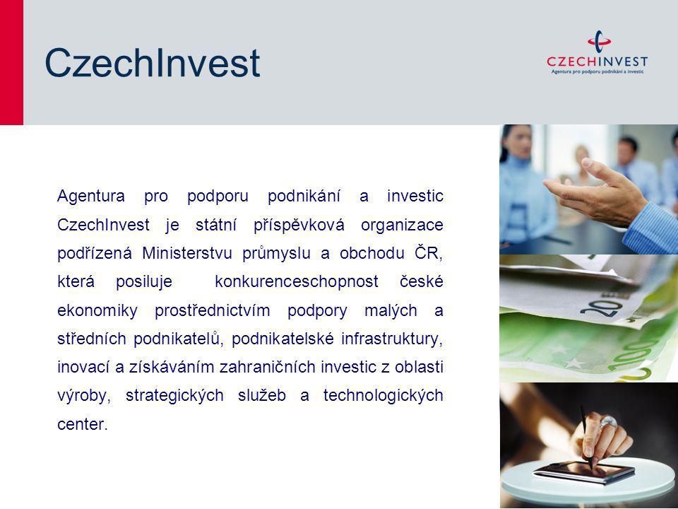 CzechInvest Agentura pro podporu podnikání a investic CzechInvest je státní příspěvková organizace podřízená Ministerstvu průmyslu a obchodu ČR, která