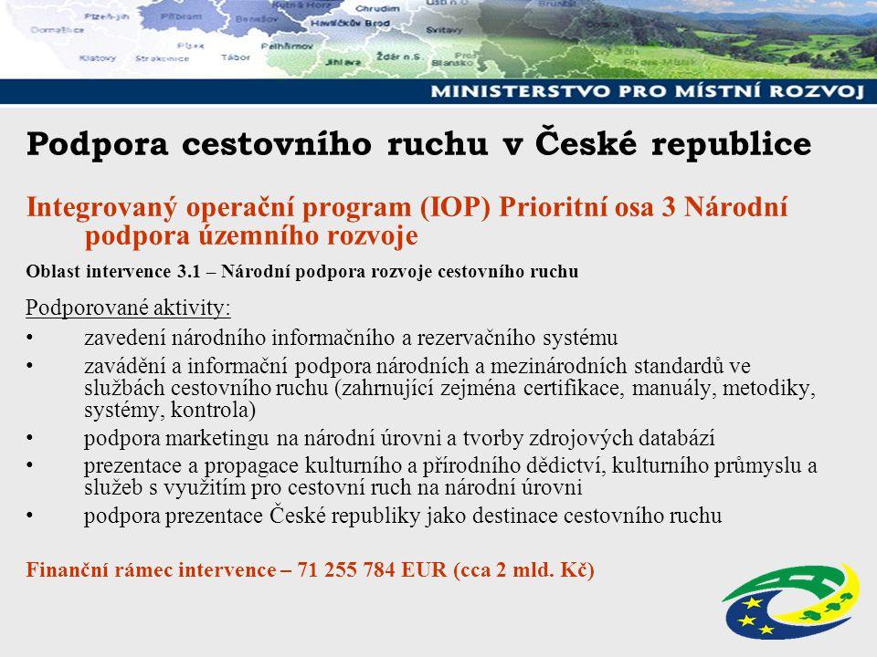 Podpora cestovního ruchu v České republice Integrovaný operační program (IOP) Prioritní osa 3 Národní podpora územního rozvoje Oblast intervence 3.1 –