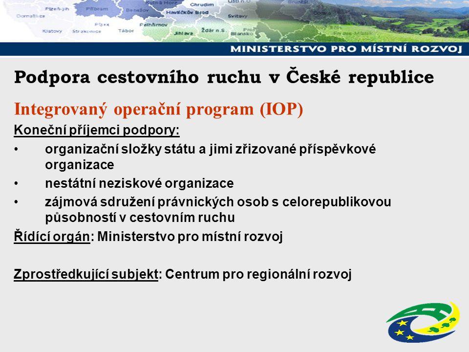 Podpora cestovního ruchu v České republice Integrovaný operační program (IOP) Koneční příjemci podpory: organizační složky státu a jimi zřizované přís