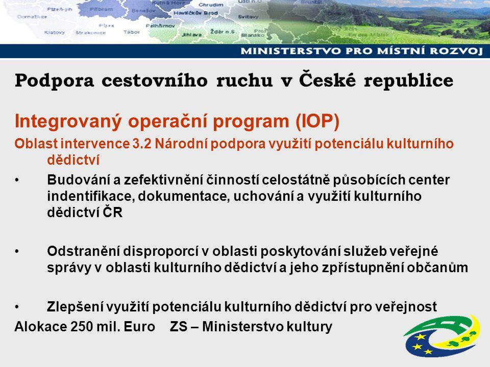 Podpora cestovního ruchu v České republice Integrovaný operační program (IOP) Oblast intervence 3.2 Národní podpora využití potenciálu kulturního dědi