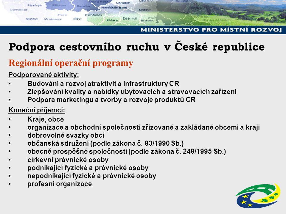 Podpora cestovního ruchu v České republice Regionální operační programy Podporované aktivity: Budování a rozvoj atraktivit a infrastruktury CR Zlepšov
