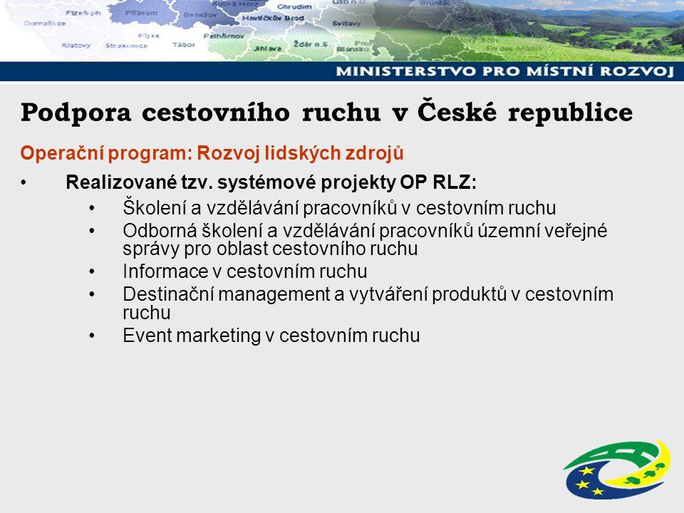 Podpora cestovního ruchu v České republice Operační program: Rozvoj lidských zdrojů Realizované tzv. systémové projekty OP RLZ: Školení a vzdělávání p