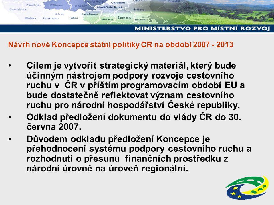 Návrh nové Koncepce státní politiky CR na období 2007 - 2013 Cílem je vytvořit strategický materiál, který bude účinným nástrojem podpory rozvoje cest