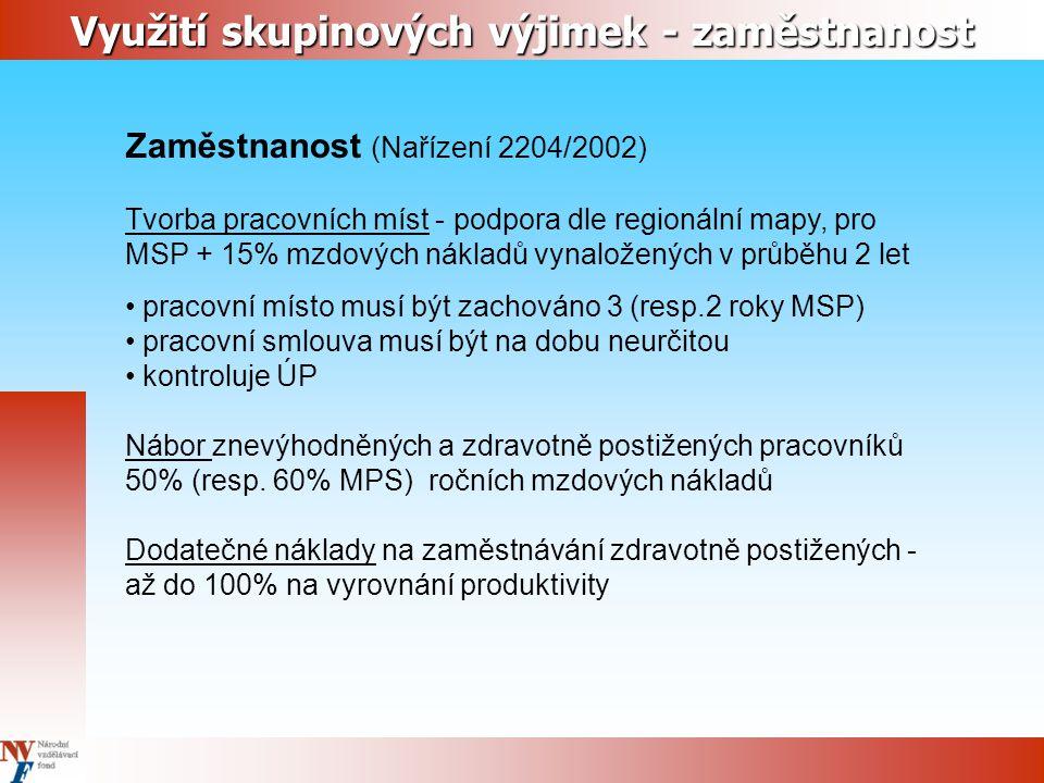 Zaměstnanost (Nařízení 2204/2002) Tvorba pracovních míst - podpora dle regionální mapy, pro MSP + 15% mzdových nákladů vynaložených v průběhu 2 let pr