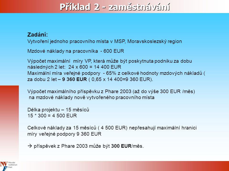 Zadání: Vytvoření jednoho pracovního místa v MSP, Moravskoslezský region Mzdové náklady na pracovníka - 600 EUR Výpočet maximální míry VP, která může být poskytnuta podniku za dobu následných 2 let: 24 x 600 = 14 400 EUR Maximální míra veřejné podpory - 65% z celkové hodnoty mzdových nákladů ( za dobu 2 let – 9 360 EUR ( 0,65 x 14 400=9 360 EUR).