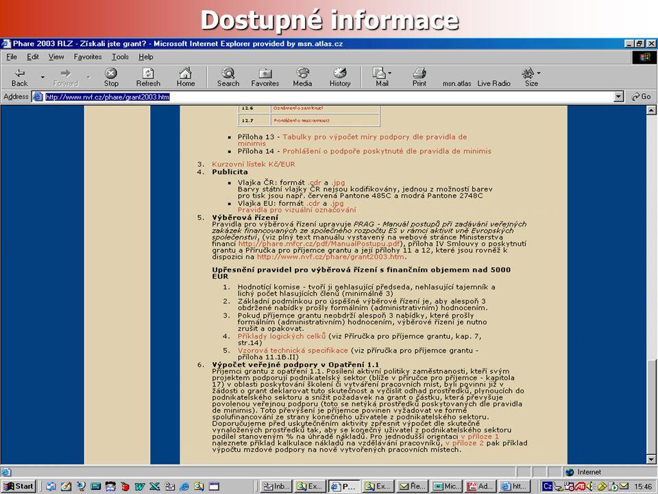 http://www.nvf.cz/phare/grant2003.htm Dostupné informace