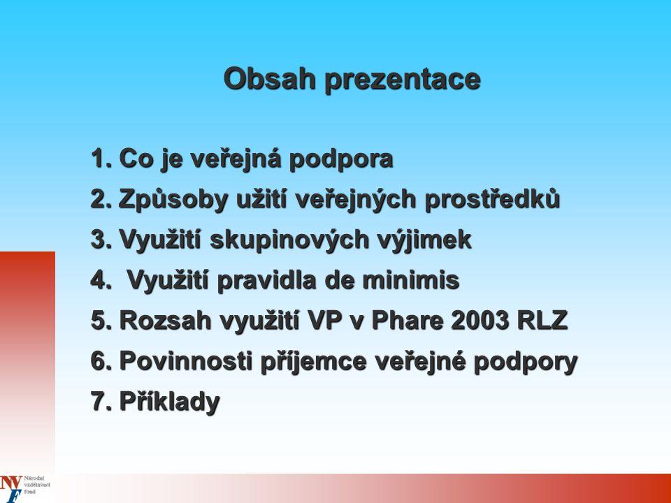 Phare 2003 - výzva I/2004 Opatření 1: Posílení aktivní politiky zaměstnanosti Vzdělávací projekty - rozhodnutí UOHS Vytváření pracovních míst - rozhodnutí UOHS Zaměstnávání zdravotně postižených - oznámení EK Podpora dle de minimis - zodpovědnost příjemce Rozsah použití VP ve Phare 2003