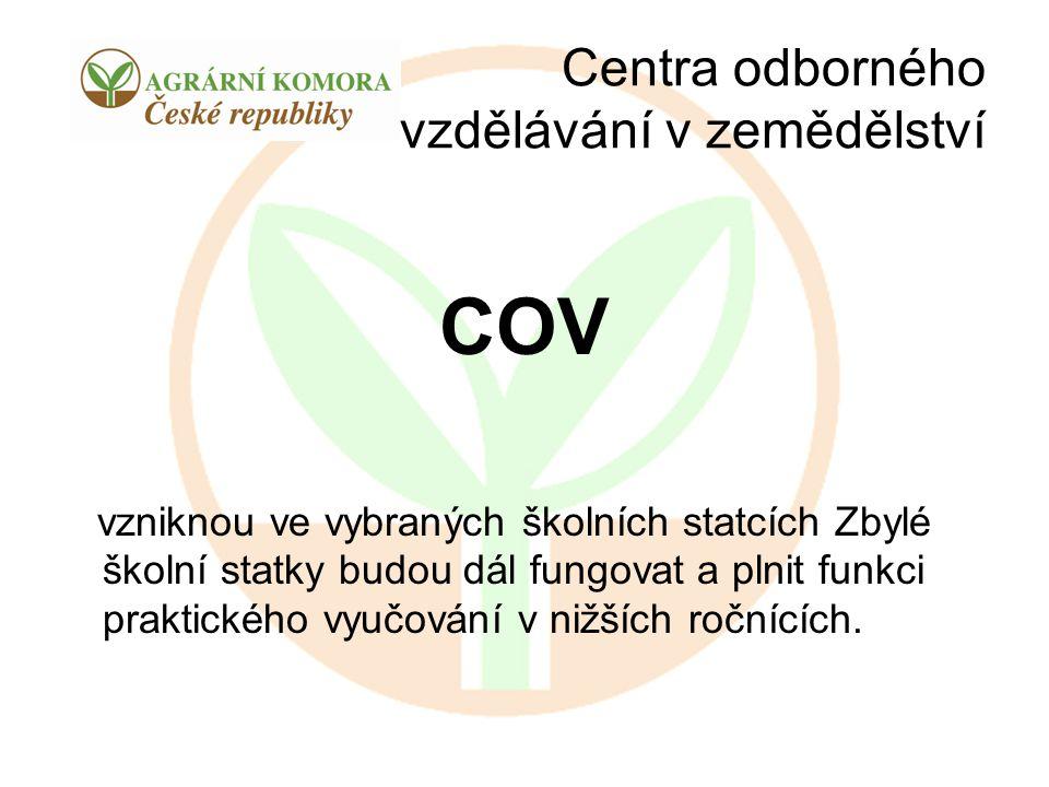 Centra odborného vzdělávání v zemědělství COV vzniknou ve vybraných školních statcích Zbylé školní statky budou dál fungovat a plnit funkci praktickéh