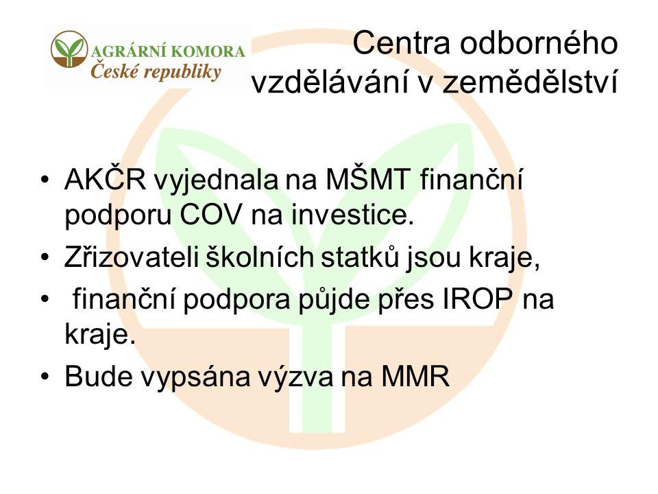 Centra odborného vzdělávání v zemědělství AKČR vyjednala na MŠMT finanční podporu COV na investice. Zřizovateli školních statků jsou kraje, finanční p