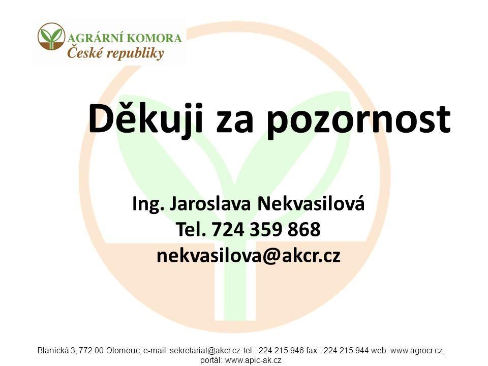 Blanická 3, 772 00 Olomouc, e-mail: sekretariat@akcr.cz tel.: 224 215 946 fax.: 224 215 944 web: www.agrocr.cz, portál: www.apic-ak.cz Děkuji za pozor