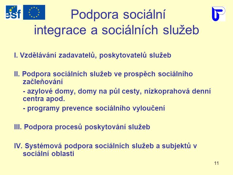 11 Podpora sociální integrace a sociálních služeb I.