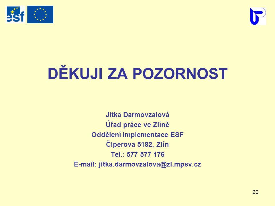 20 DĚKUJI ZA POZORNOST Jitka Darmovzalová Úřad práce ve Zlíně Oddělení implementace ESF Čiperova 5182, Zlín Tel.: 577 577 176 E-mail: jitka.darmovzalova@zl.mpsv.cz