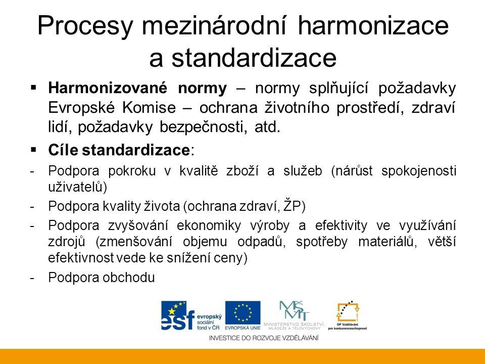 Procesy mezinárodní harmonizace a standardizace  Harmonizované normy – normy splňující požadavky Evropské Komise – ochrana životního prostředí, zdrav