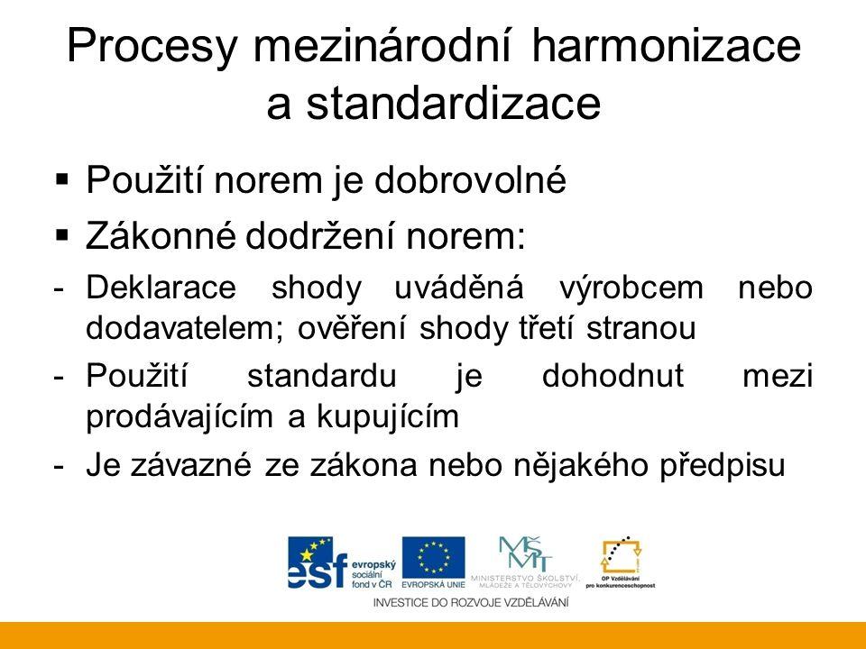 Procesy mezinárodní harmonizace a standardizace  Použití norem je dobrovolné  Zákonné dodržení norem: -Deklarace shody uváděná výrobcem nebo dodavat