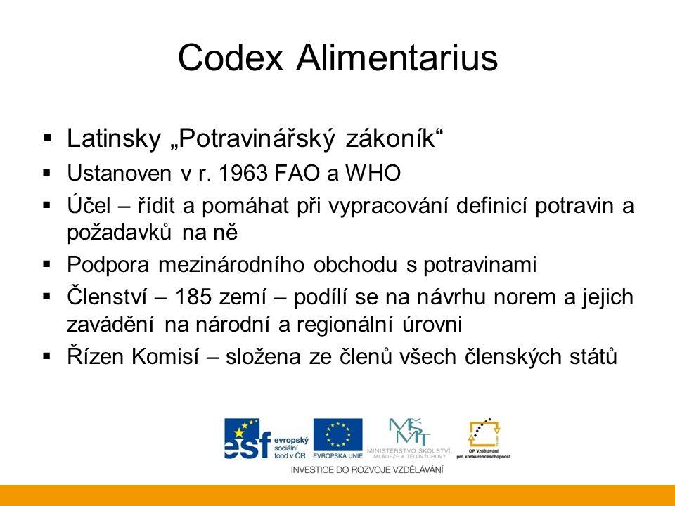"""Codex Alimentarius  Latinsky """"Potravinářský zákoník""""  Ustanoven v r. 1963 FAO a WHO  Účel – řídit a pomáhat při vypracování definicí potravin a pož"""