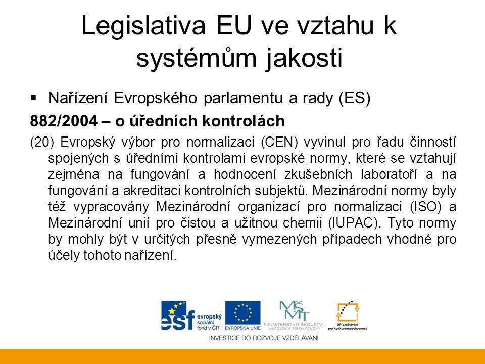 Legislativa EU ve vztahu k systémům jakosti  Nařízení Evropského parlamentu a rady (ES) 882/2004 – o úředních kontrolách (20) Evropský výbor pro norm